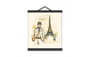 Toile sérigraphiée 'Corto Maltese, Paris' - Hugo Pratt