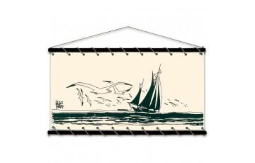 Toile sérigraphiée 'Corto Maltese, Le voilier' - Hugo Pratt