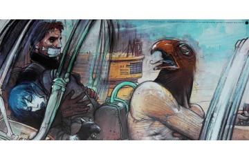 Affiche d'art 'Jill, Horus, Nikopol & Gogol' - Enki Bilal