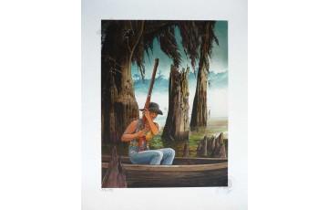 Impression aux encres N°/Signée 'Les passagers du vent, la petite fille bois caïman 2' - François Bourgeon