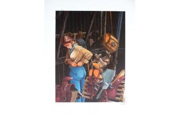 Impression aux encres N°/Signée 'Les passagers du vent, la petite fille bois caïman' - François Bourgeon