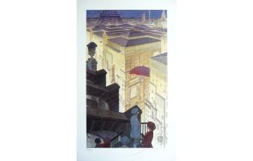 Affiche d'art N°/Signée 'Paris, les halles la nuit' - François Schuiten