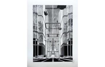 Estampe pigmentaire N°/Signée 'Revoir Paris' - François Schuiten