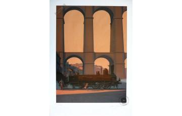 Affiche d'art N°/Signée 'LGV1H25, Bretagne Express' - François Schuiten & Laurent Durieux