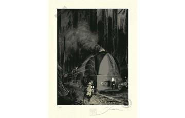 Sérigraphie N°/Signée 'La type 12, Halte en forêt' - François Schuiten & Laurent Durieux