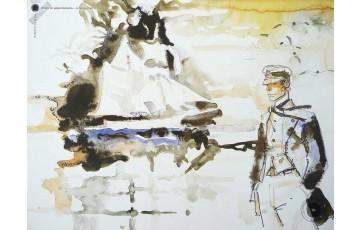 Affiche d'art 'Corto Maltese, Avevo un appuntamento' - Hugo Pratt