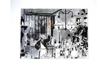 Affiche d'art N°/Signée 'Avril et le monde truqué, Le laboratoire' - Jacques Tardi