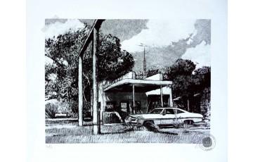 Estampe pigmentaire N°/Signée 'Route 66, East Texas' - Jean-Claude Götting