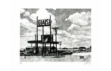 Estampe pigmentaire N°/Signée 'Route 66, Gas' - Jean-Claude Götting
