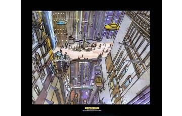 Affiche d'art 'Le cinquième élément, New-York' - Jean-Claude Mézières