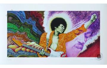Estampe pigmentaire N°/Signée 'Jimi Hendrix' - Jean Solé