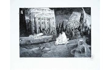 Lithographie N°/Signée 'La rue - Scooter' - Nicolas De Crécy