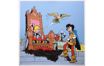 Toile 'Johan et Pirlouit, Le cire de Montrésor' - Peyo