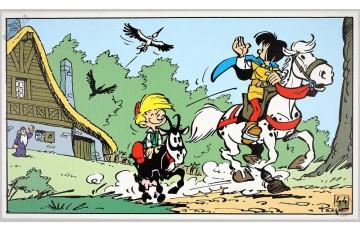 Toile 'Johan et Pirlouit, Au revoir' - Peyo