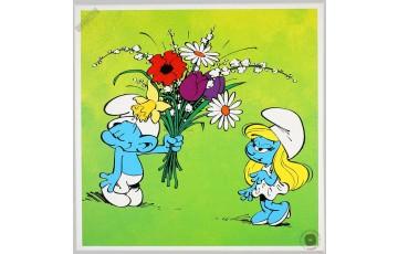 Toile 'Les Schtroumpfs, Le bouquet' - Peyo