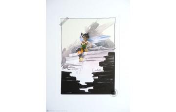 Affiche d'art 'Peter Pan, Clochette la bibliothèque' - Régis Loisel
