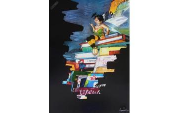 Affiche d'art 'Peter Pan, Clochette et les livres' - Régis Loisel
