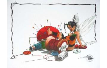 Affiche d'art 'Peter Pan, Clochette le fil à coudre' - Régis Loisel