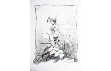 Affiche d'art 'Peter Pan, Clochette, fleurs' - Régis Loisel