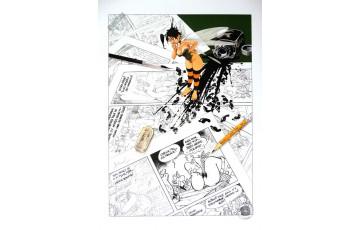 Affiche d'art 'Peter Pan, Hommage à Uderzo' - Régis Loisel