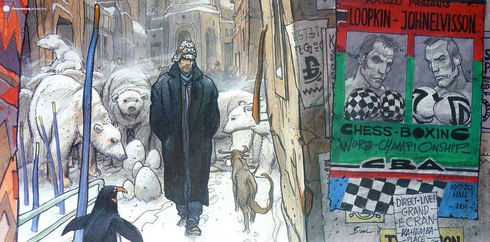 Affiche d'art BD Enki Bilal 'Chess Boxing' - Illustrose