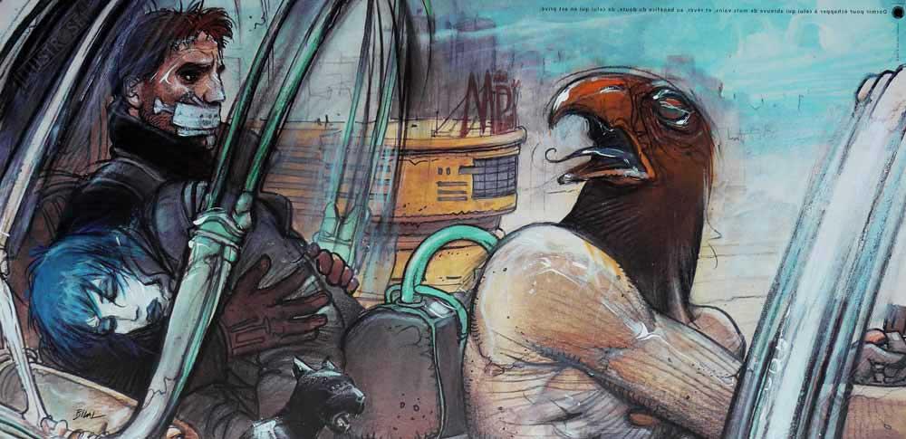 Affiche d'art BD Enki Bilal 'Jill, Horus, Nikopol & Gogol' - Illustrose