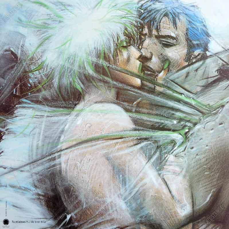 Affiche d'art BD Enki Bilal 'Tu m'aimes white' - Illustrose