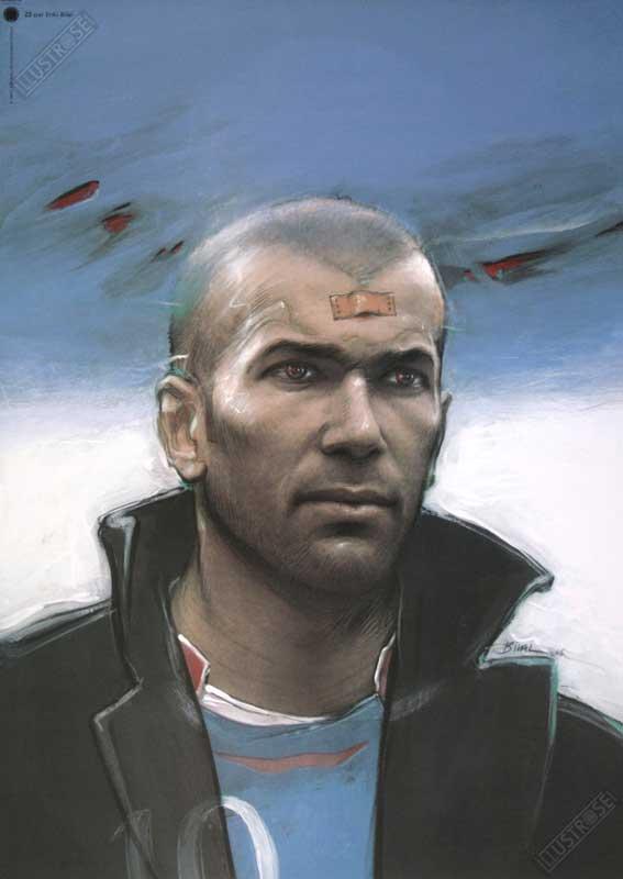 Affiche d'art BD Enki Bilal 'Zinedine Zidane' - Illustrose