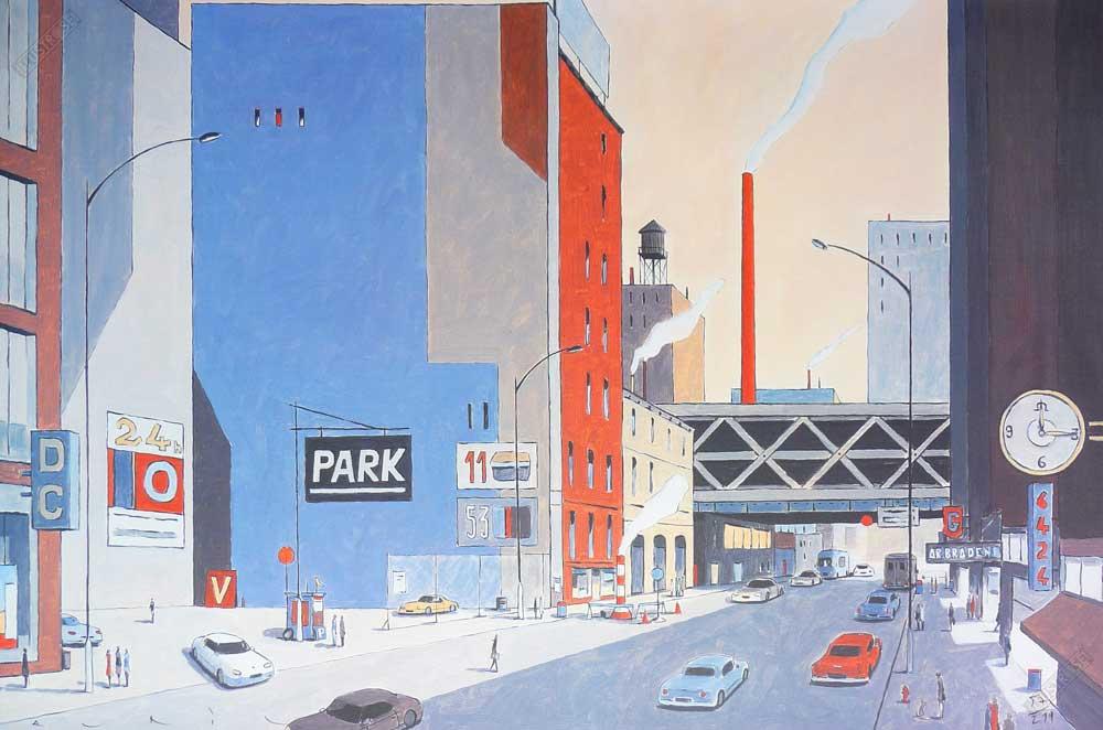 Affiche d'art illustration François Avril 'New-York 6424 park' - Illustrose