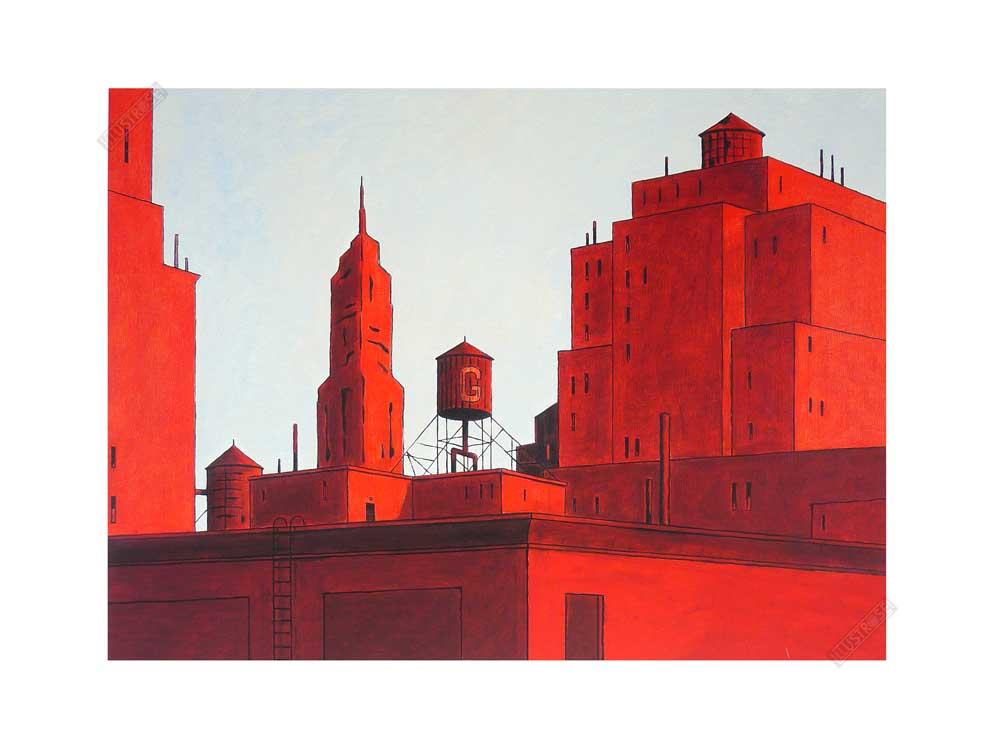 Estampe pigmentaire François Avril 'NYC rouge' - Illustrose