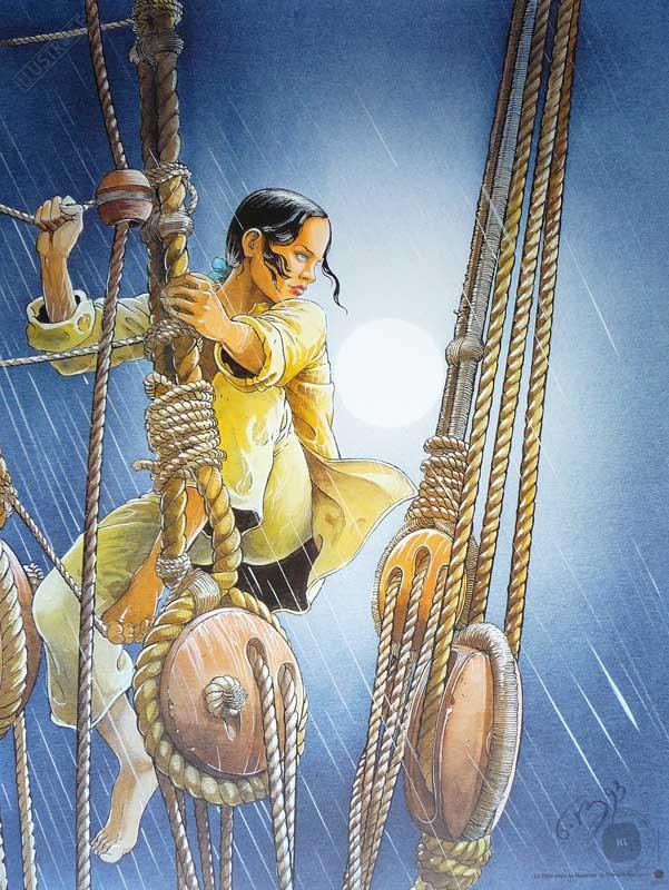 Affiche d'art BD Les passagers du vent 'La fille sous la dunette' - Illustrose