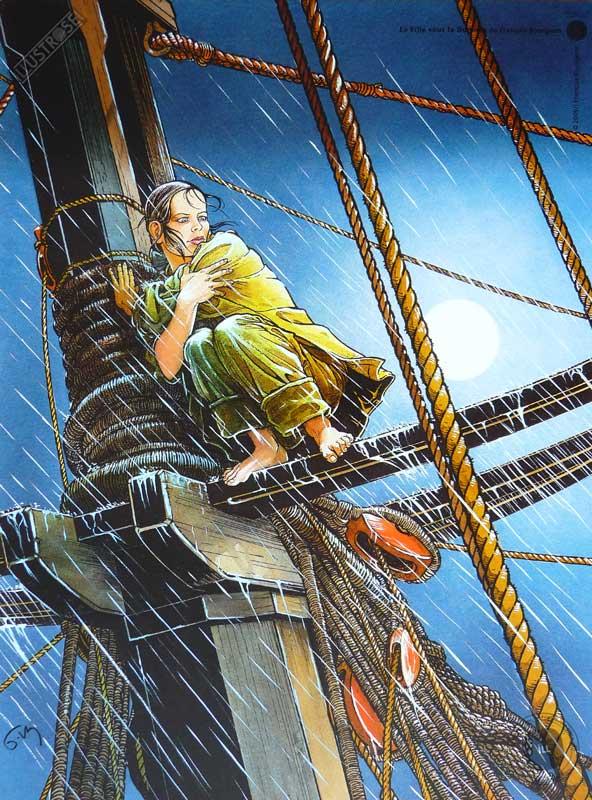 Affiche d'art BD Les passagers du vent 'La fille sur la dunette' - Illustrose