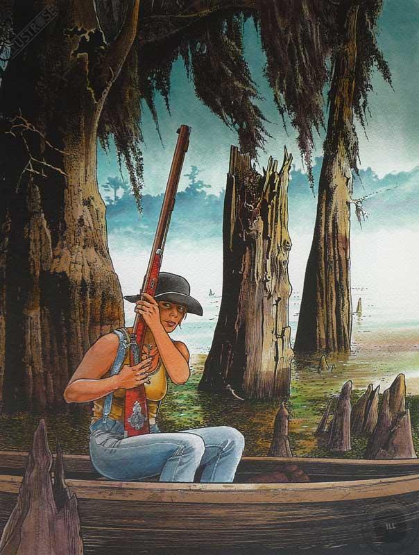 Affiche d'art BD Les passagers du vent 'La petite fille bois caïman' - Illustrose