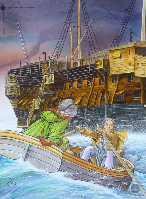 Affiche d'art BD Les passagers du vent 'Le ponton' - Illustrose