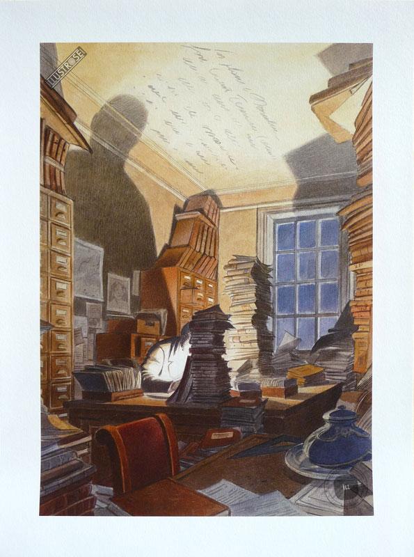 Affiche BD de François Schuiten 'Bibliothèque Mundaneum' - Illustrose