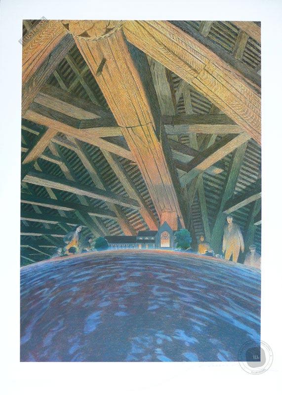 Affiche BD signée François Schuiten, Les cités obscures 'Abbaye de l'Epau' - Illustrose