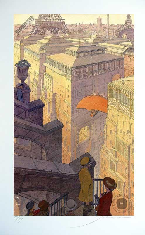 Affiche d'art François Schuiten signée 'Paris, les halles le jour' - Illustrose