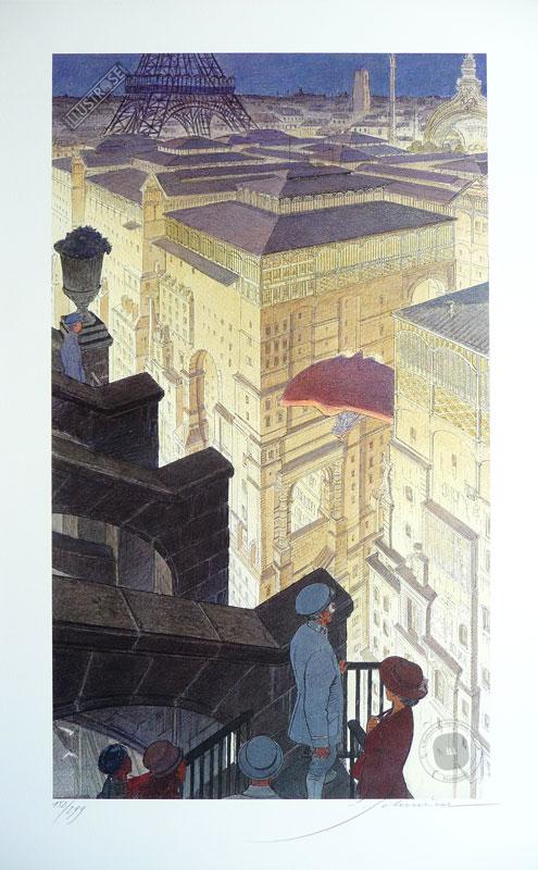 Affiche d'art signée François Schuiten 'Paris, les halles la nuit' - Illustrose