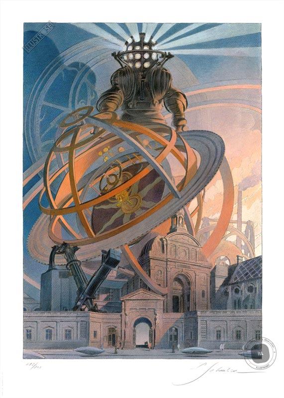 Affiche BD signée François Schuiten, Exposition 'Machines à dessiner' - Illustrose