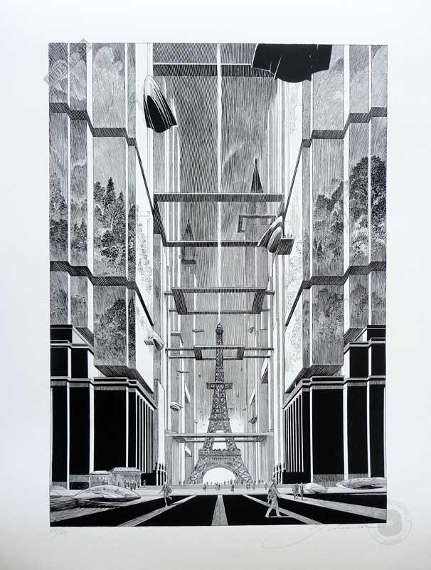 Estampe pigmentaire de François Schuiten 'Revoir Paris' - Illustrose