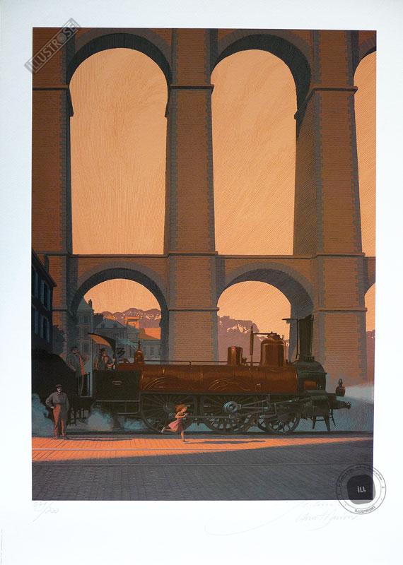 Affiche d'art poster BD signée François Schuiten & Laurent Durieux, 'LGV1H25, Bretagne Express' - Illustrose