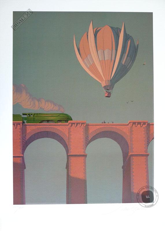 Affiche d'art poster BD signée François Schuiten & Laurent Durieux, 'LGV1H25, Envie de ralentir' - Illustrose