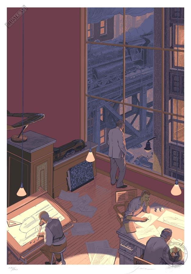 Sérigraphie BD illustration signée François Schuiten & Laurent Durieux, 'Dialogues' - Illustrose