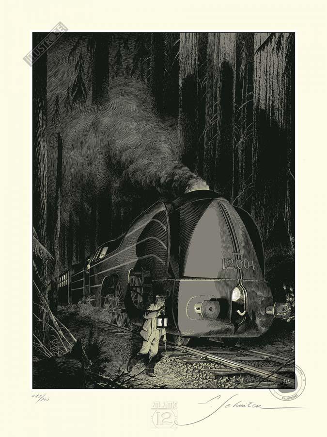 Sérigraphie BD signée François Schuiten & Laurent Durieux, 'La type 12, Halte en forêt' - Illustrose