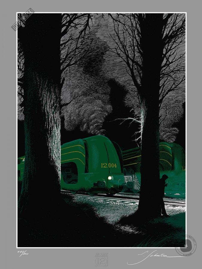Sérigraphie BD signée François Schuiten & Laurent Durieux, 'La type 12, Halte au repos' - Illustrose