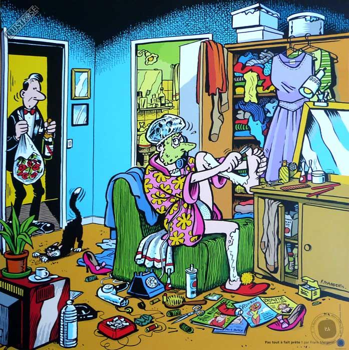 Affiche BD de Frank Margerin 'Pas tout à fait prête' - Illustrose