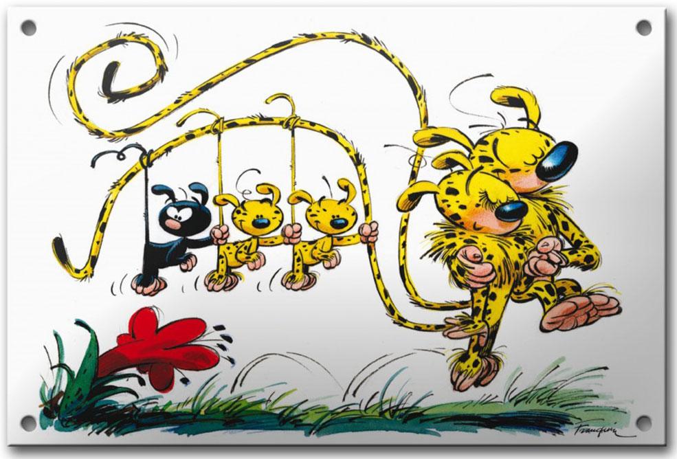 Plaque émaillée déco BD Famille Marsupilami de Franquin - Illustrose