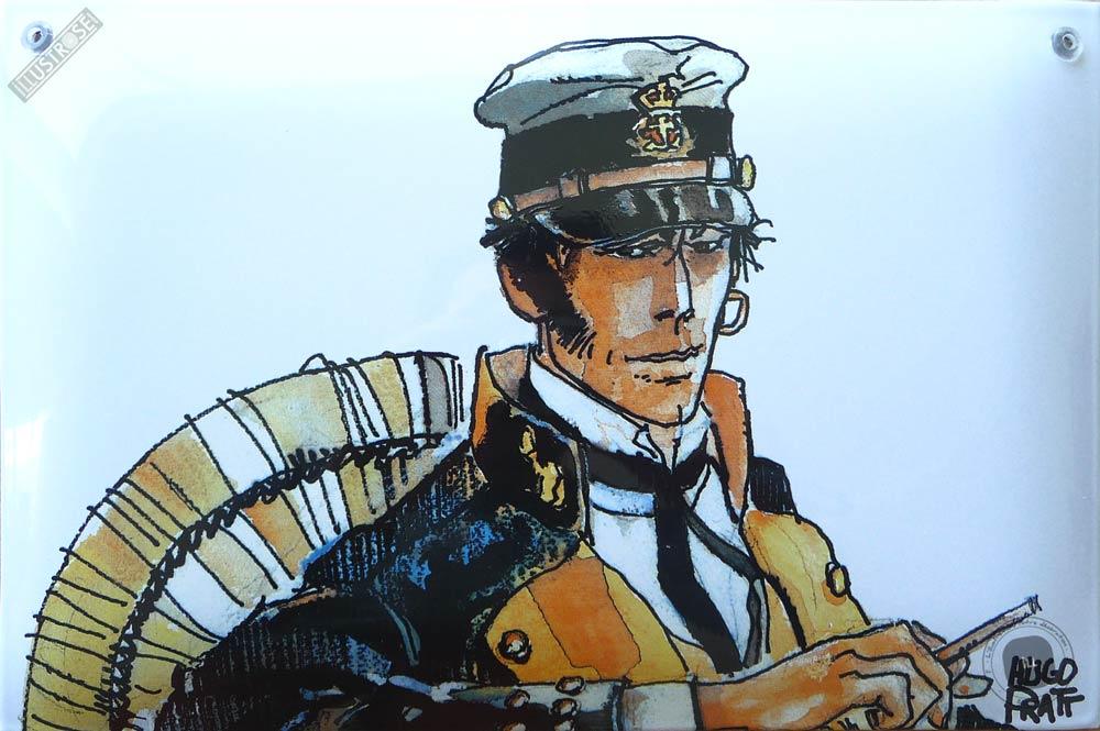 Plaque émaillée sérigraphiée para BD déco Corto Maltese 'Les éthiopiques' de Hugo Pratt - Illustrose