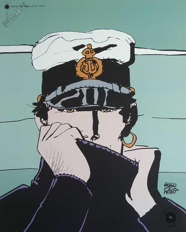 Affiche BD Corto Maltese de Hugo Pratt 'Dior vert' - Illustrose