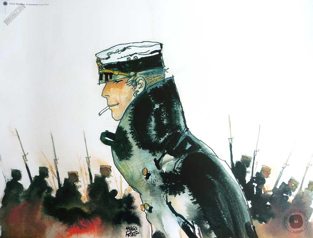 Affiche BD Corto Maltese de Hugo Pratt 'La jeunesse' - Illustrose